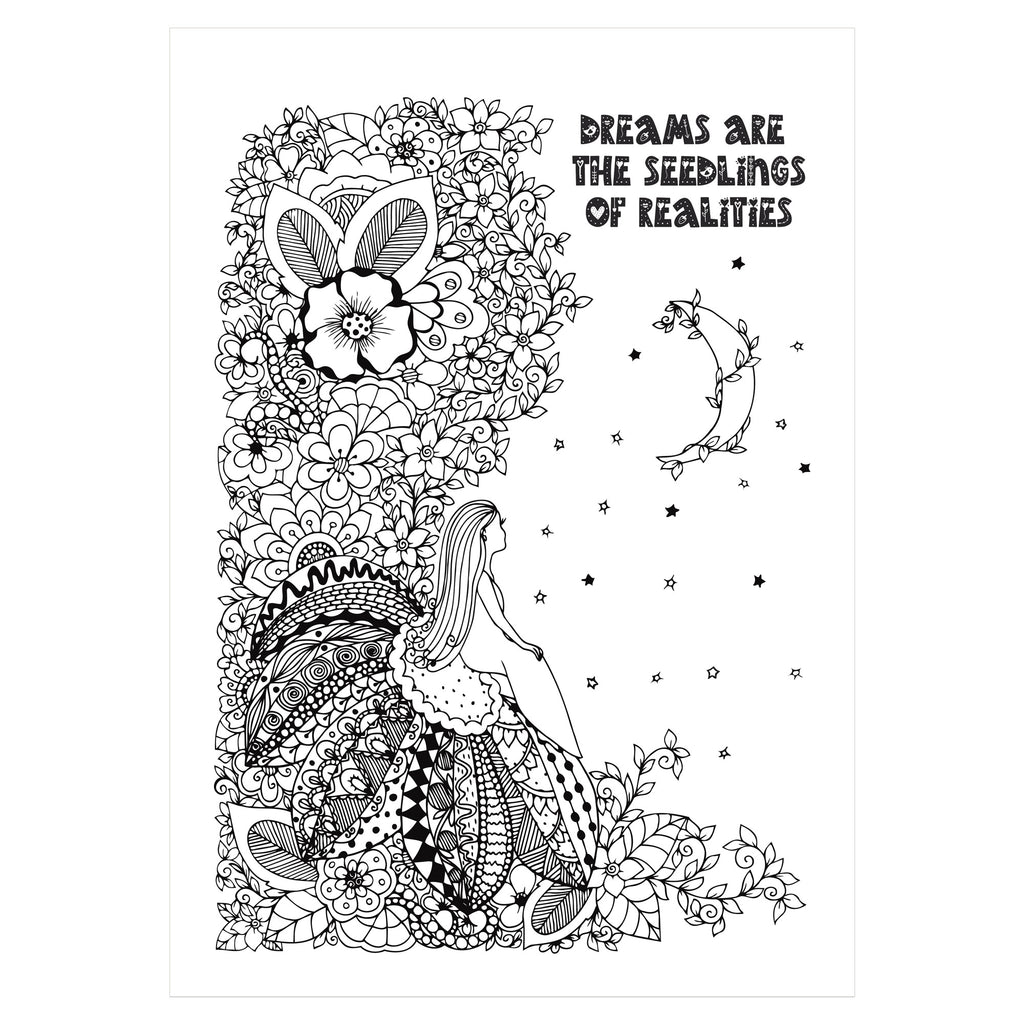 Dreams Starter Colouring in Sheet A4 PDF Download