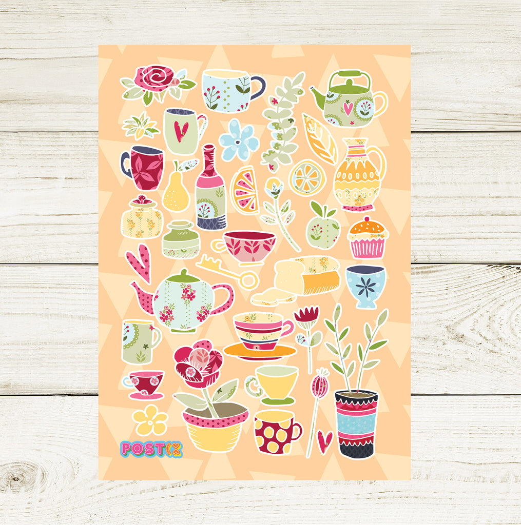 High Tea Party A6 Sticker Sheet