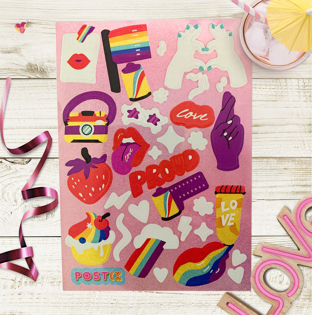 Love is Love A6 Hologram Sticker Sheet