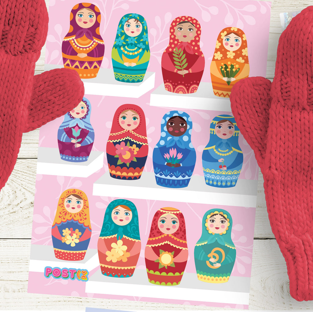 Matryoshka Dolls A6 Sticker Sheet