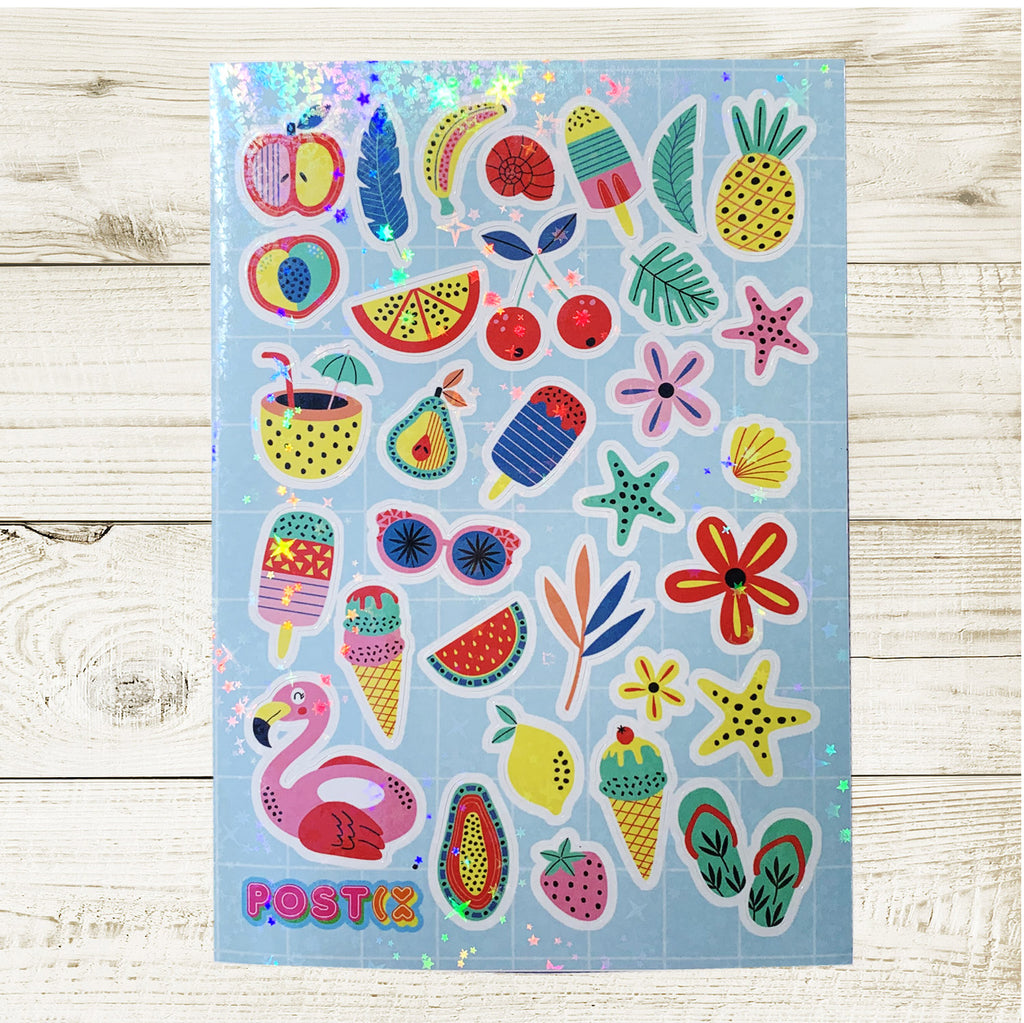 Sweet Summer Snacks A6 Hologram Sticker Sheet