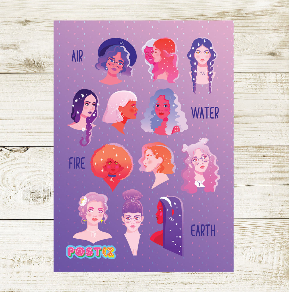 Zodiac Girls A6 Sticker Sheet
