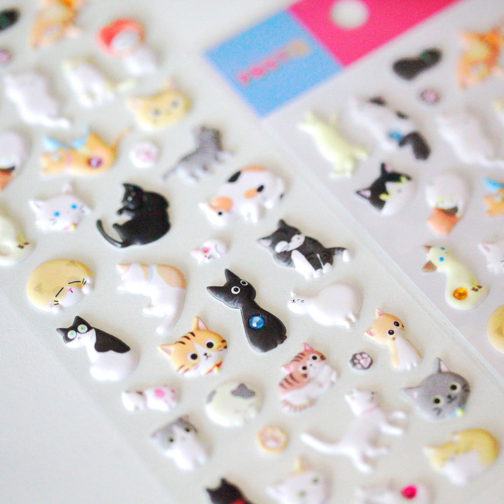 Jewelled Cats 3D Sticker Sheet
