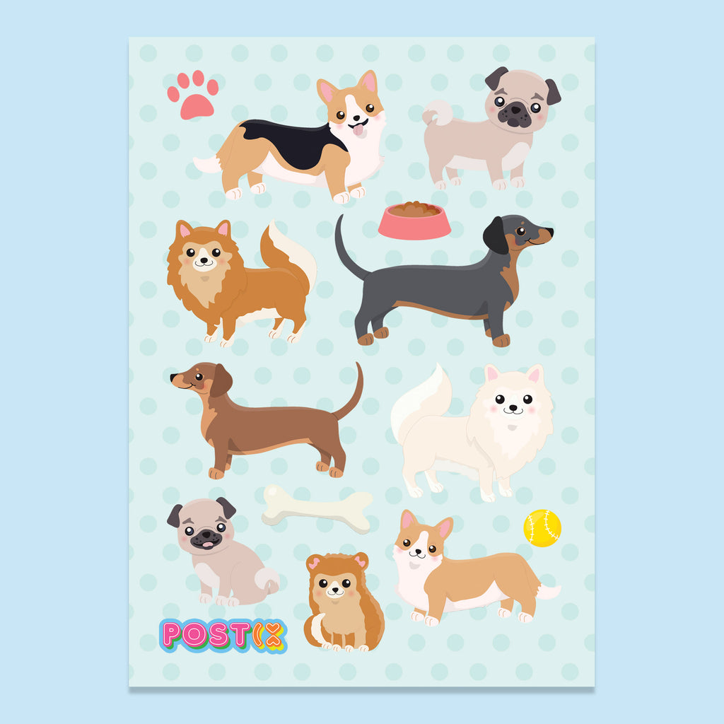 Puppy Love A6 Sticker Sheet