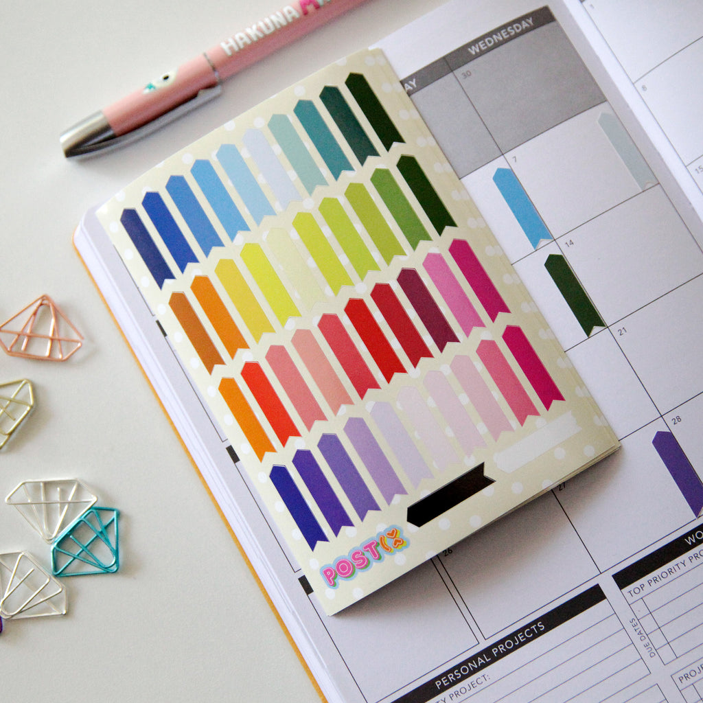 Rainbow Planner Flags A6 Sticker Sheet