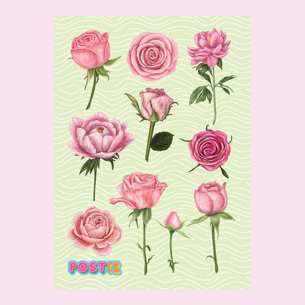 Rose Garden Eco-Friendly A6 Sticker Sheet