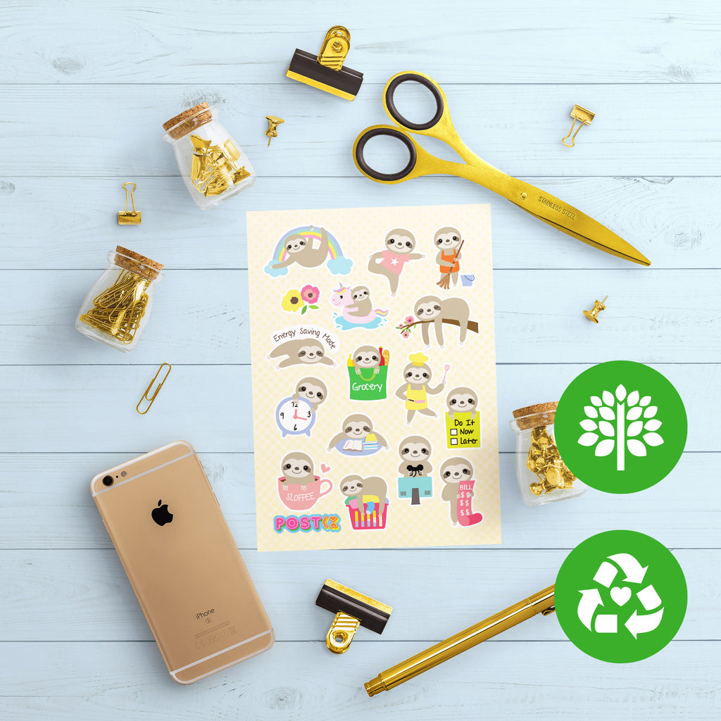 Slothly Does It Eco-Friendly A6 Sticker Sheet