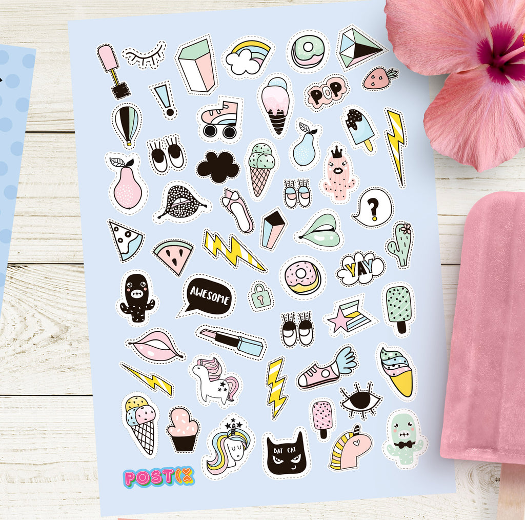 Pastel Pop Icons A6 Sticker Sheet