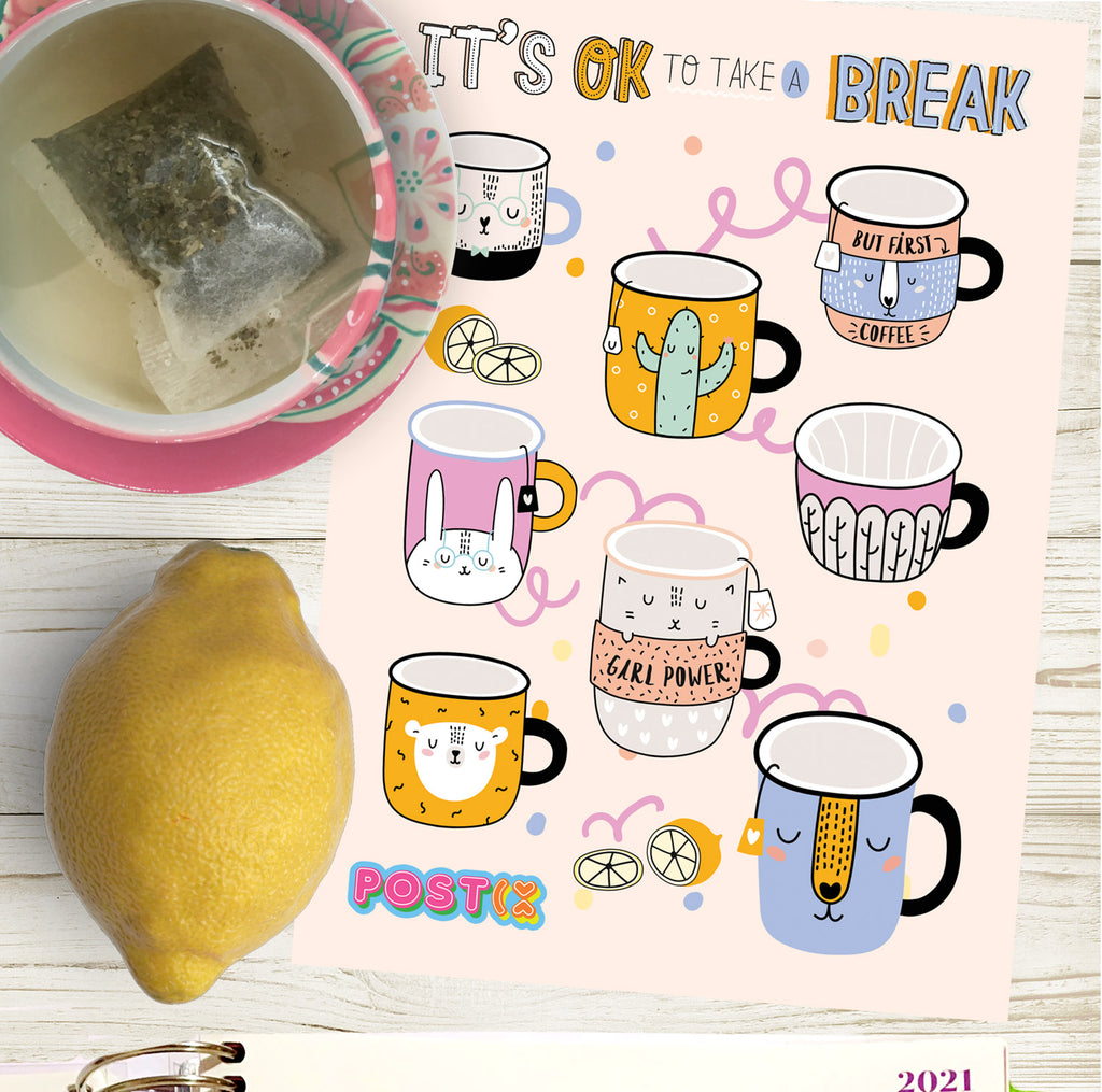 Take a Break A6 Sticker Sheet