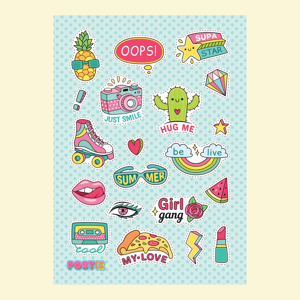 Girls Just Wanna Have Sun A6 Sticker Sheet