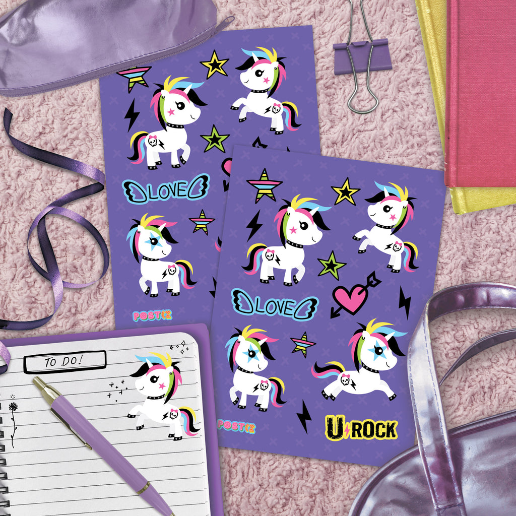 U-Rock Unicorn A6 Sticker Sheet