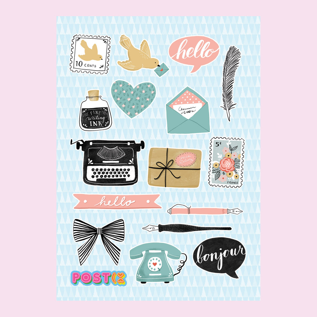 Vintage Pen Pal Eco-Friendly A6 Sticker Sheet