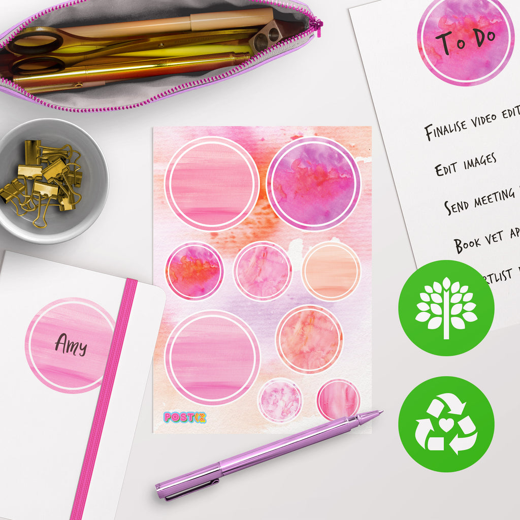 Watercolour Eco-Friendly A5 Sticker Labels