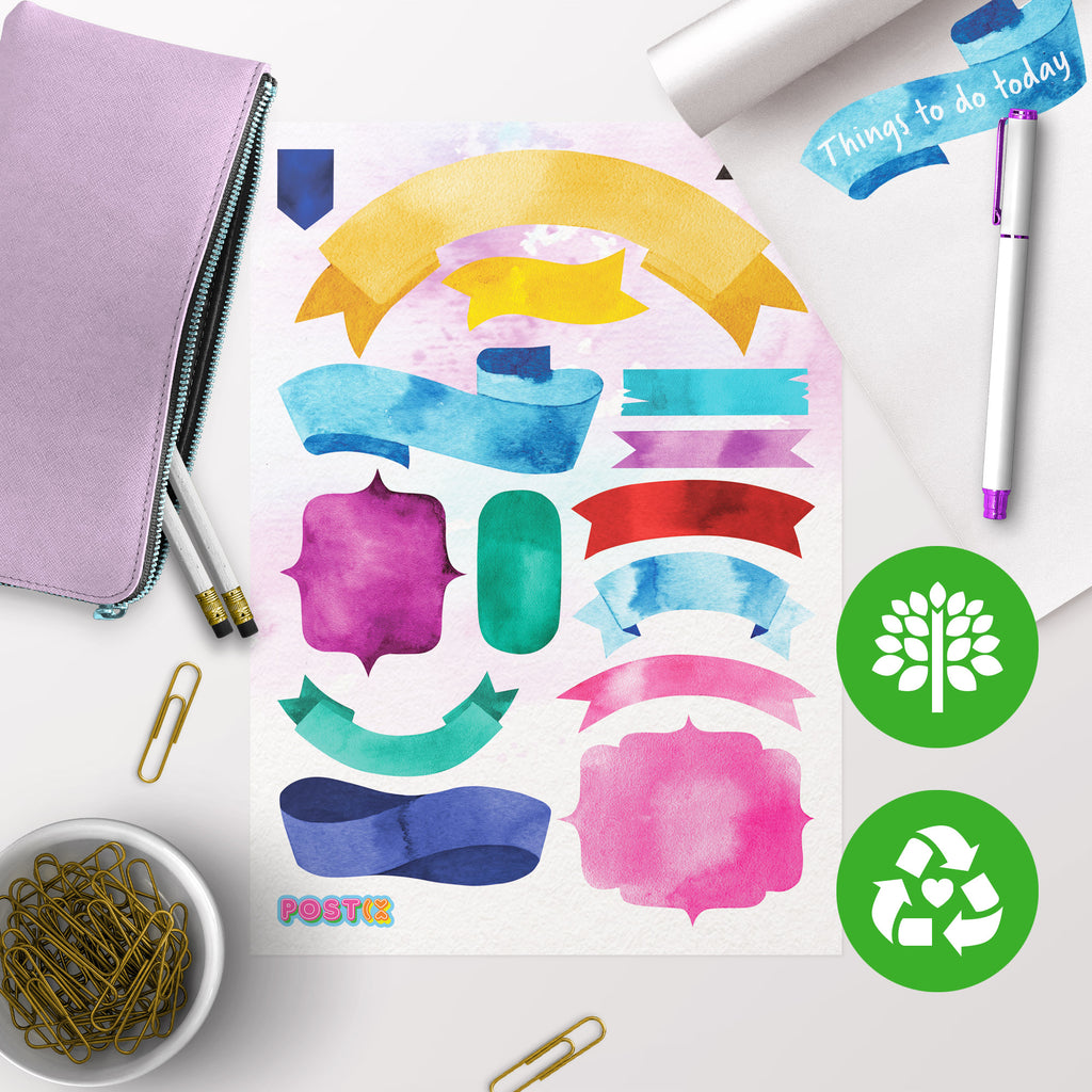 Watercolour Ribbon Eco-Friendly A5 Sticker Labels