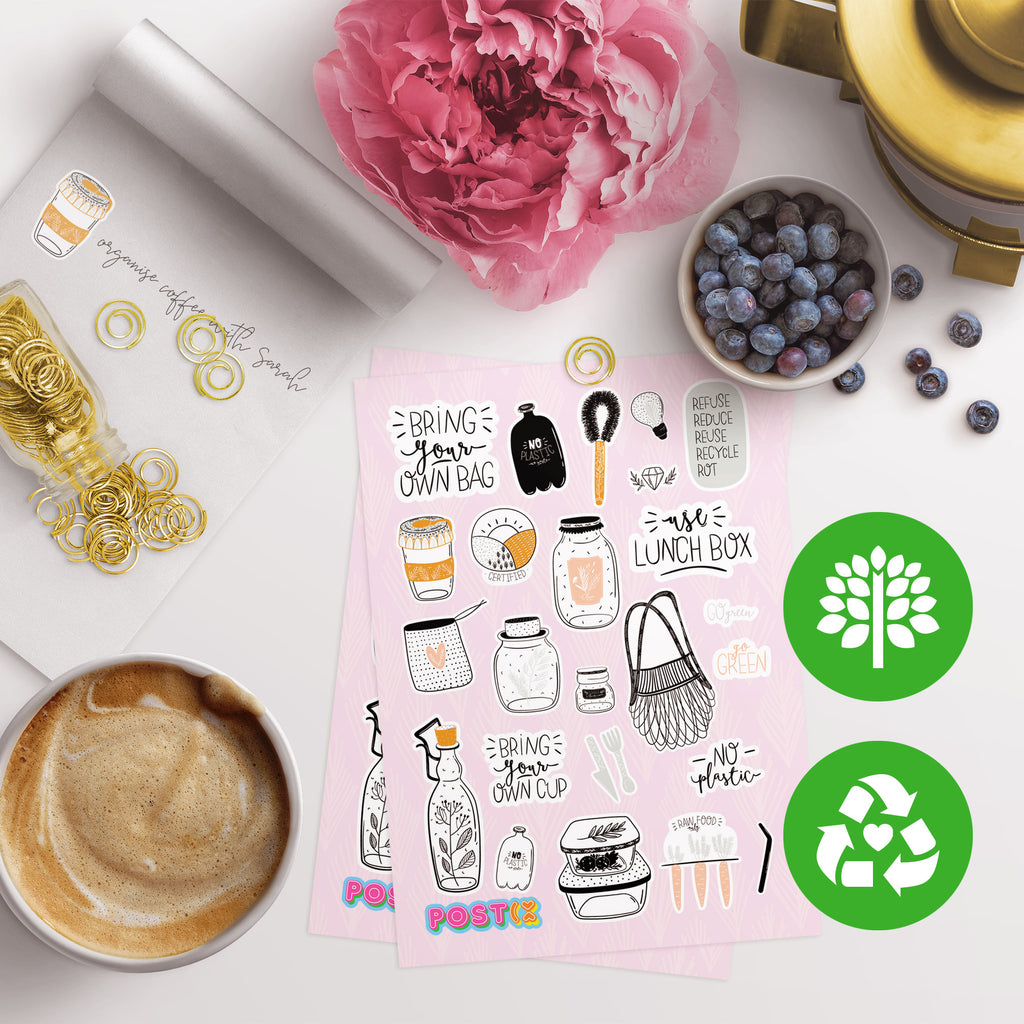 Eco-Chic Style Eco-Friendly A6 Sticker Sheet