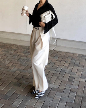 [PERMANENT COLLECTION] Pleated Wide Leg Pants in Ivory