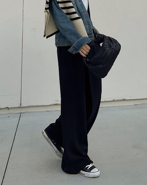 [NEW SS21] Pleated Wide Leg Pants in Black