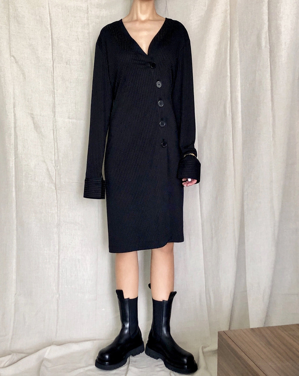 [PFW20] Ribbed Knit Silk Cardigan Dress Black
