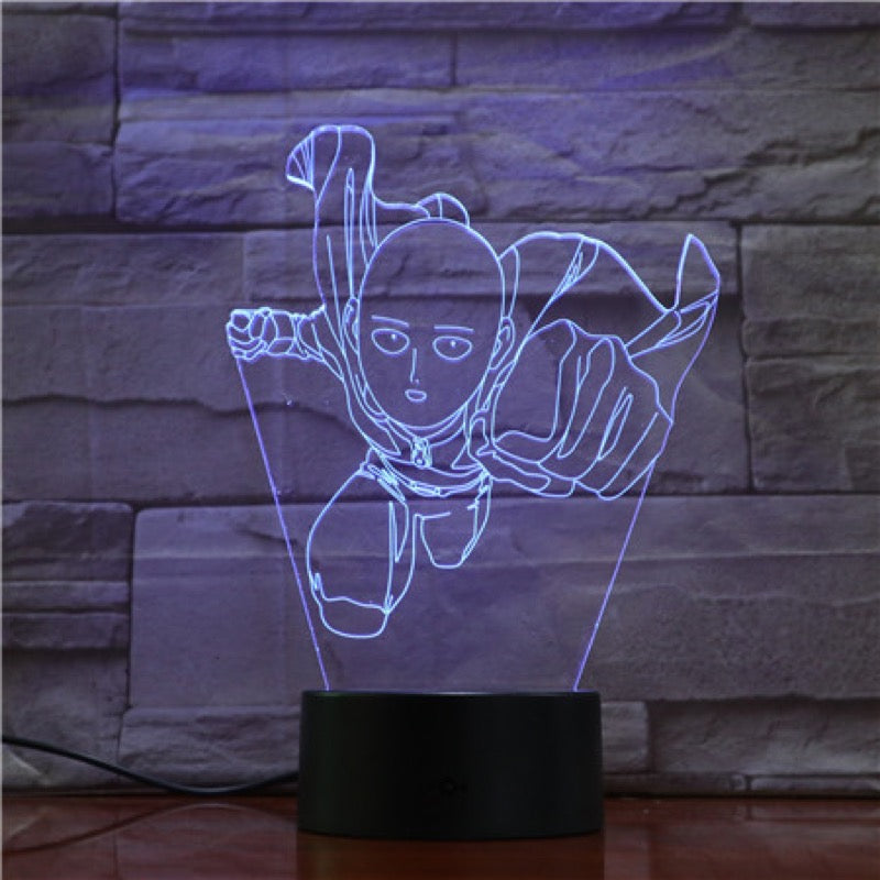 Lampe LED 3D One Punch Man Saitama Cyan