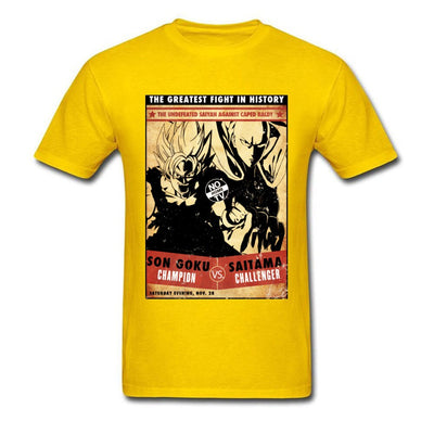 t-shirt one punch man Saitama vs Goku jaune
