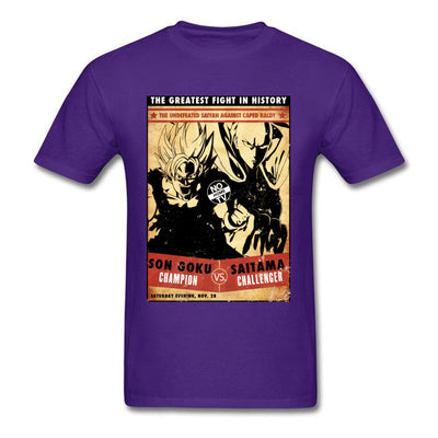 t-shirt one punch man Saitama vs Goku violet