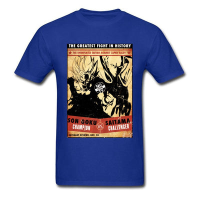 t-shirt one punch man Saitama vs Goku bleu