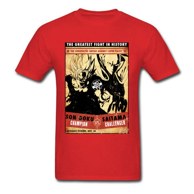 t-shirt one punch man Saitama vs Goku rouge