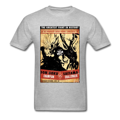 t-shirt one punch man Saitama vs Goku gris clair