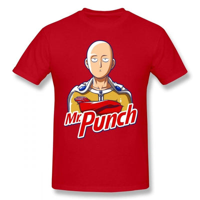 T-Shirt One Punch Man Saitama Mr Punch rouge
