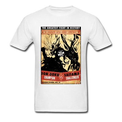 t-shirt one punch man Saitama vs Goku blanc