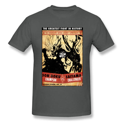 t-shirt one punch man Saitama vs Goku gris foncé