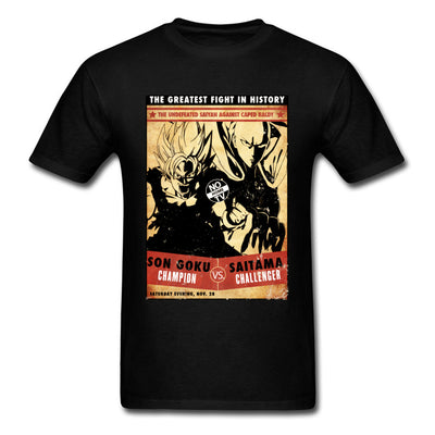 t-shirt one punch man Saitama vs Goku noir