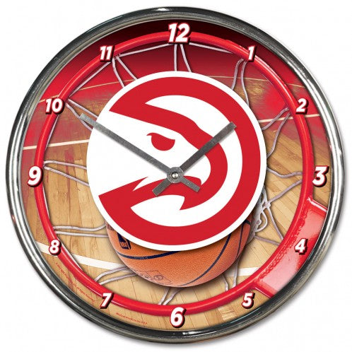 Atlanta Hawks Clock Round Wall Style Chrome