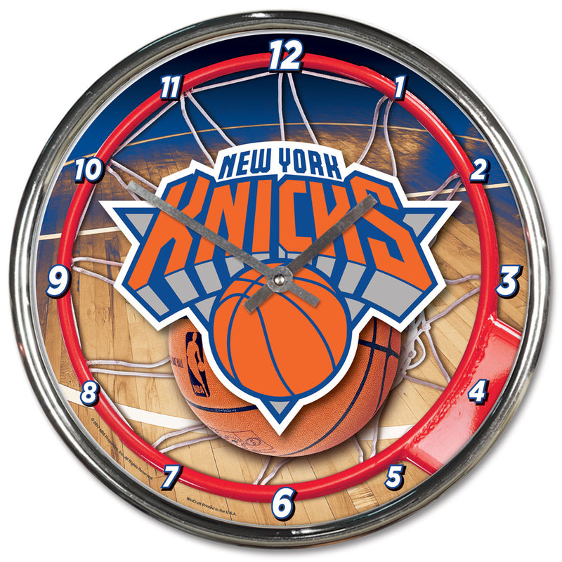 New York Knicks Clock Round Wall Style Chrome