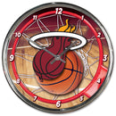 Miami Heat Round Chrome Wall Clock