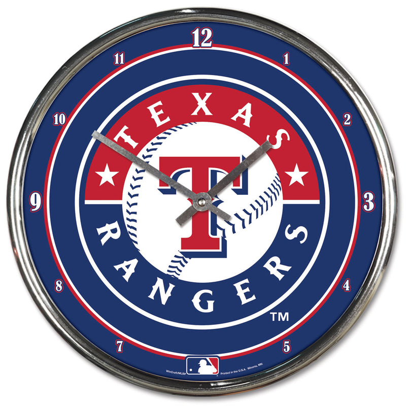 Texas Rangers Clock Round Wall Style Chrome