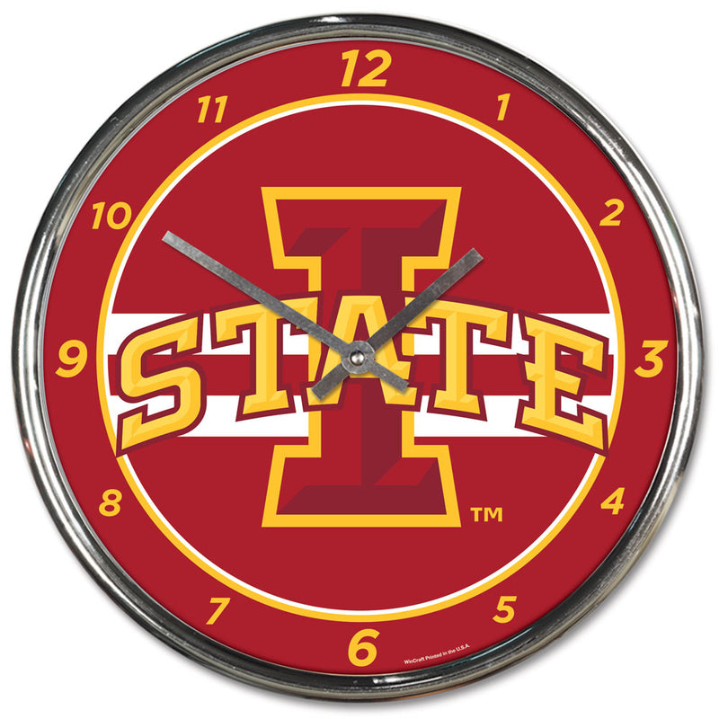 Iowa State Cyclones Round Chrome Wall Clock