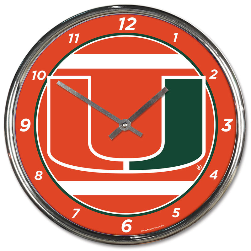 Miami Hurricanes Clock Round Wall Style Chrome