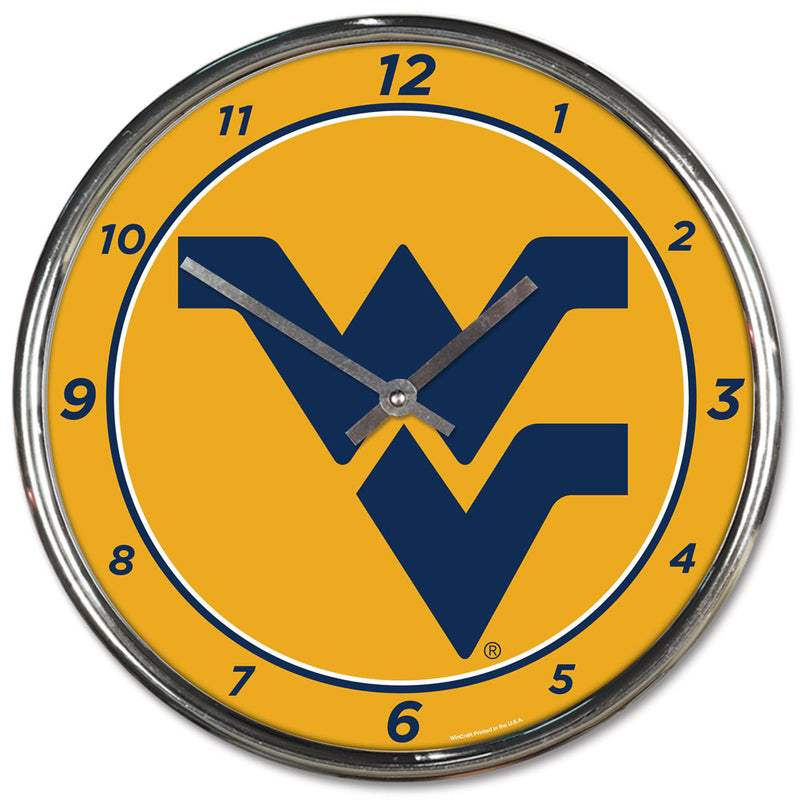 West Virginia Mountaineers Clock Round Wall Style Chrome