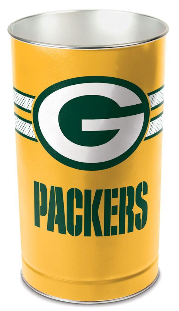 Green Bay Packers Wastebasket 15 Inch Gold Design