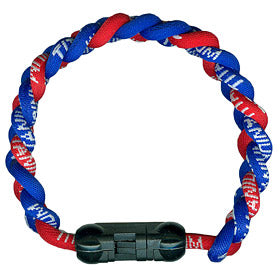 Titanium Ionic Braided Wristband Royal Blue/Red