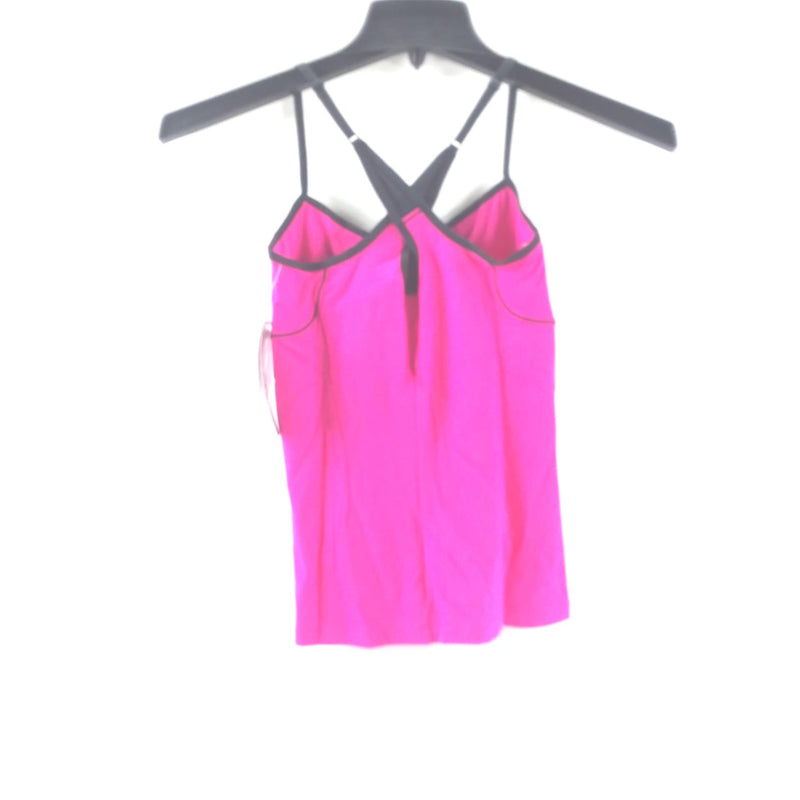 NWT Asics Womens Extra Small XS Abby Tank Top W/ Built In Shelf Bra Pink & Black