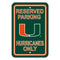 Miami Hurricanes Sign - Plastic - Reserved Parking - 12 in x 18 in