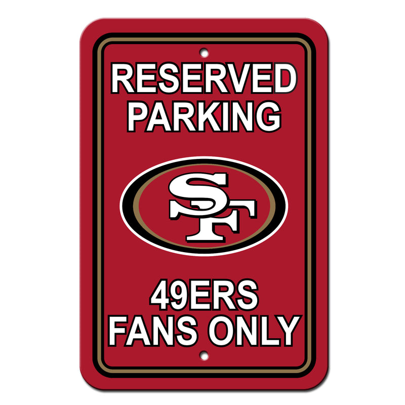 San Francisco 49ers Sign - Plastic - Reserved Parking - 12 in x 18 in