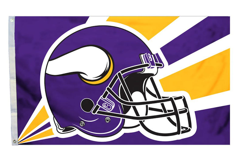 Minnesota Vikings Flag 3x5 Helmet Design