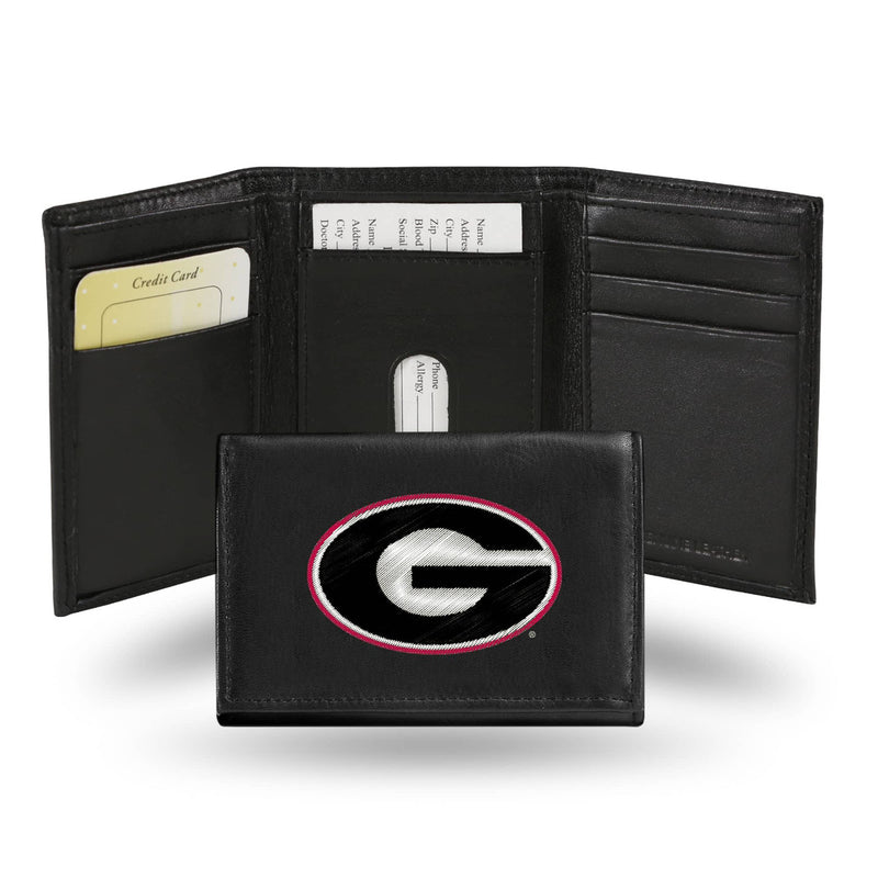 Georgia Bulldogs Wallet Trifold Leather Embroidered