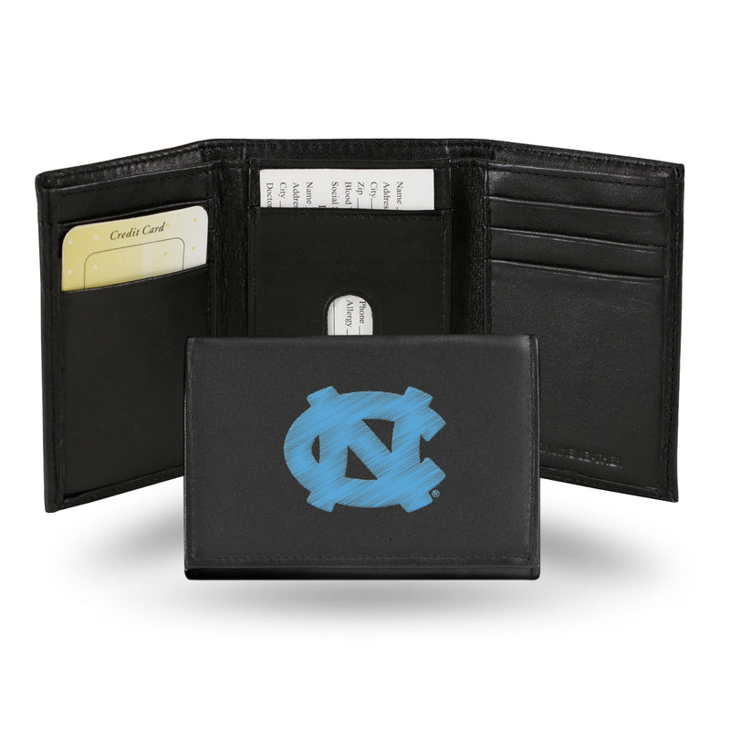 North Carolina Tar Heels Wallet Trifold Leather Embroidered