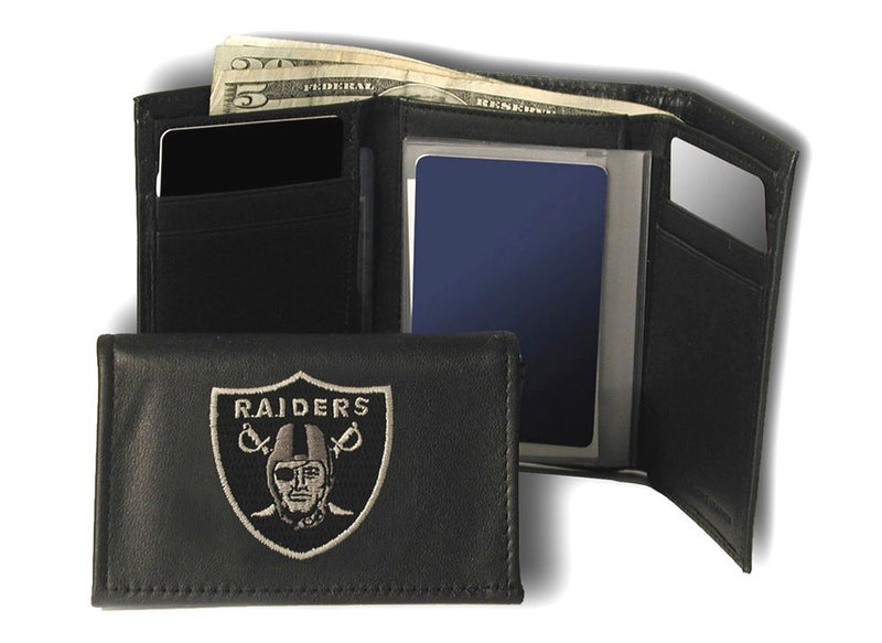Oakland Raiders Wallet Trifold Leather Embroidered
