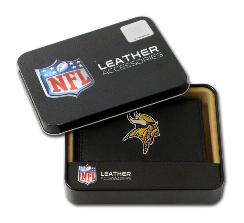 Minnesota Vikings Wallet Trifold Leather Embroidered