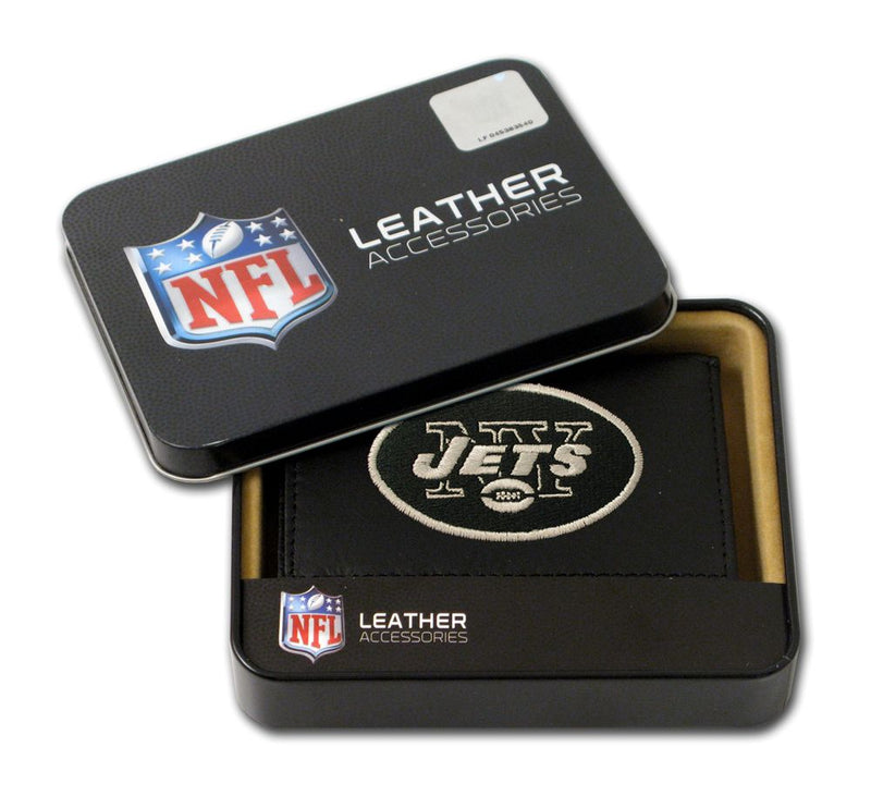 New York Jets Wallet Trifold Leather Embroidered